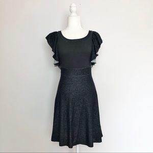 Free People Grey Flounce Sleeve Low Back Dress S